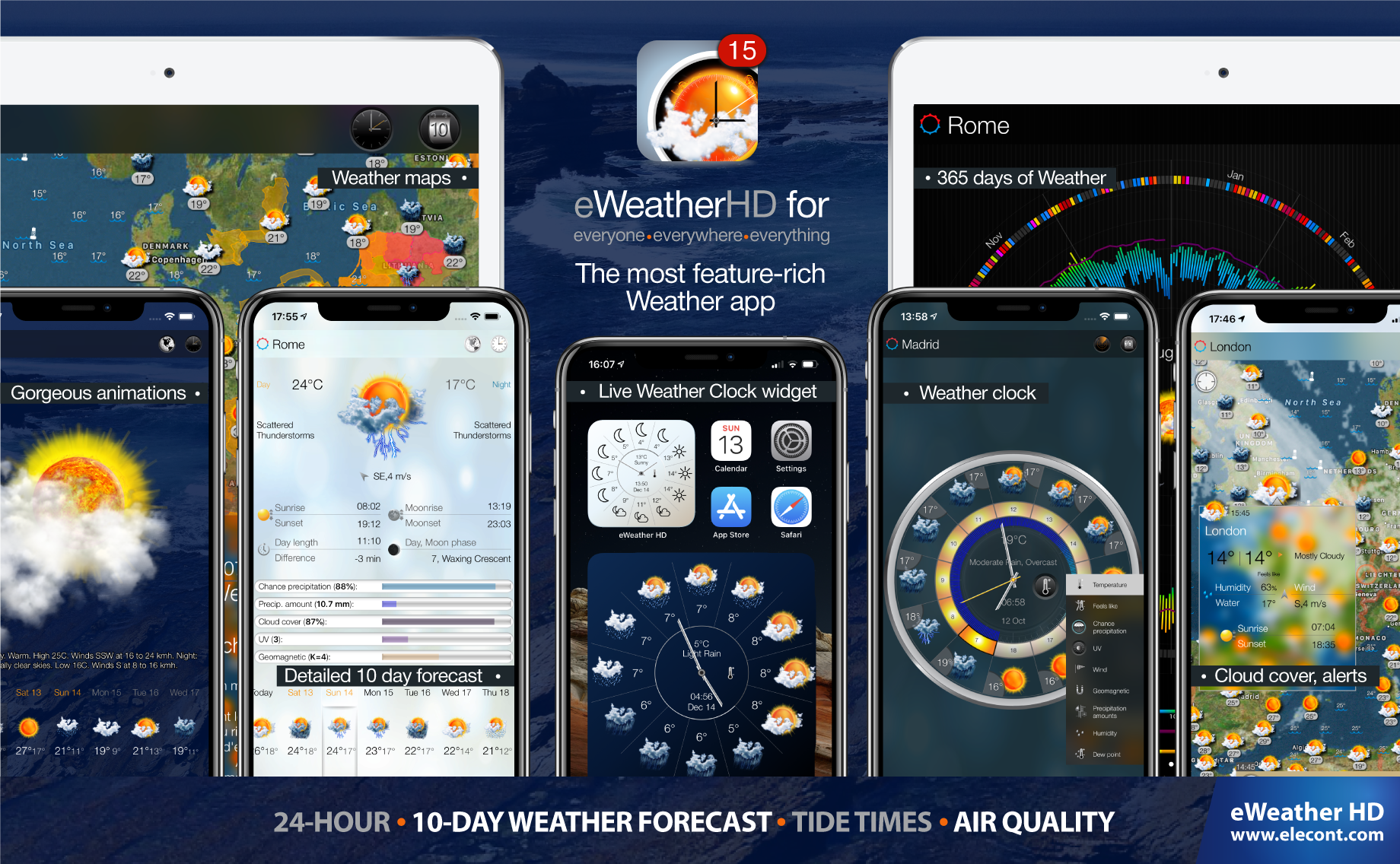 eWeather HD 3.7 for  iPhone and iPad- Get accurate weather 10-day forecast - future rain radar, weather alerts, wind, rain, snow, temperature of air, humidity, dew-point, uv-index, geomagnetic activity and more