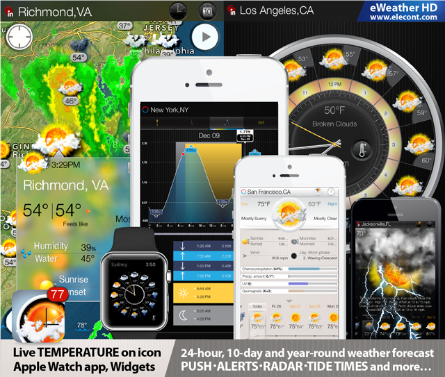 eweather hd, best weather forecast app and ios 9 widget for iPhone and iPad, hi-def radar, 10-day weather forecast, weather alerts, water temperature, satellite, earthquakes, noaa buoys