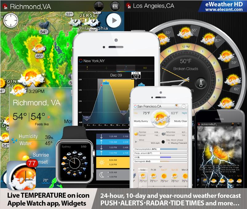 eWeather HD 3.5 - Прогноз погоды, лучшая погода для iPhone, iPad, iOS