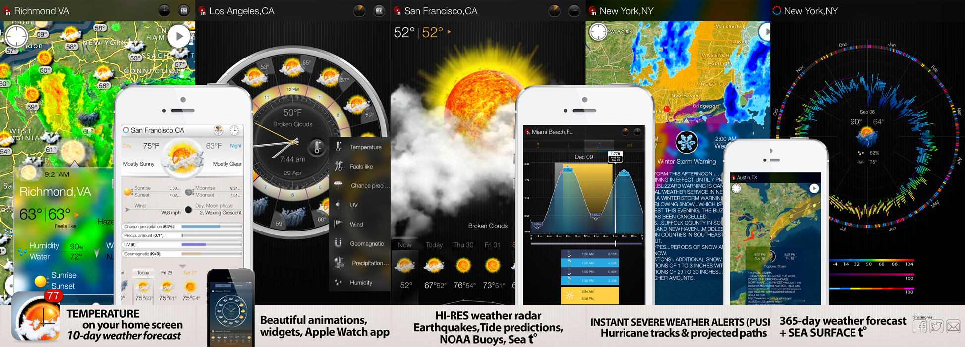 eWeather HD 3.5 for iPhone, iPad and Weather app for Apple Watch- the most informative weather app for Apple Watch, iPhone, iPad, PUSH alerts, radar, storm-tracker, earthquake, NOAA buoys app and weather widgets for iOS 9, WatchOS 2, 10-day weather forecast, accurate hour-by-hour with weather clock widget, NWS weather alerts for USA and Meteoalarm alerts for Europe, hi-def rain/snow radar, animated satellite cloud cover, PUSH weather alerts, sea beach water temperatures, NOAA buoys and earthquakes, interactive weather maps, long-range weather forecasts, tide predictions, high and low tide times - Elecont LLC
