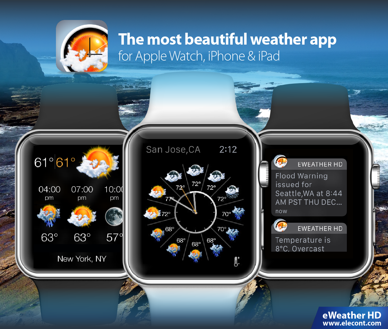 eWeather HD 3.6 for  Apple Watch- Severe weather alerts PUSH notifications, weather forecast, wind, rain, snow, temperature of air, humidity, dew-point, uv-index, geomagnetic activity and more