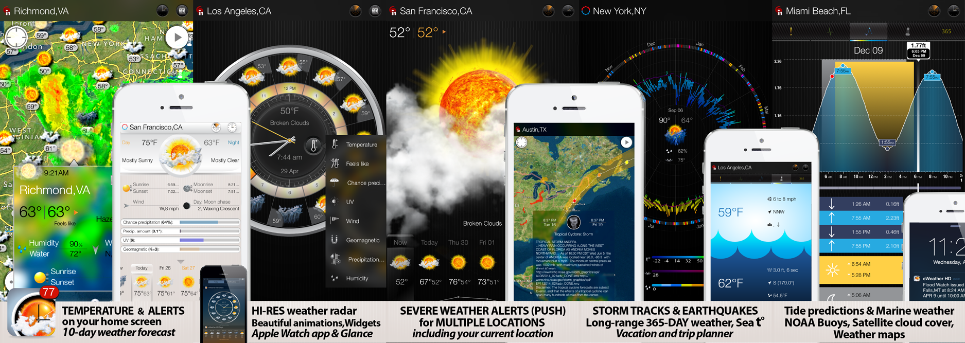 eWeather HD 3.6 for iPhone, iPad and Weather app for Apple Watch- the most informative weather app for Apple Watch, iPhone, iPad, PUSH alerts, radar, storm-tracker, earthquake, NOAA buoys app and weather widgets for iOS 9, WatchOS 2, 10-day weather forecast, accurate hour-by-hour with weather clock widget, NWS weather alerts for USA and Meteoalarm alerts for Europe, hi-def rain/snow radar, animated satellite cloud cover, PUSH weather alerts, sea beach water temperatures, NOAA buoys and earthquakes, interactive weather maps, long-range weather forecasts, tide predictions, high and low tide times - Elecont LLC