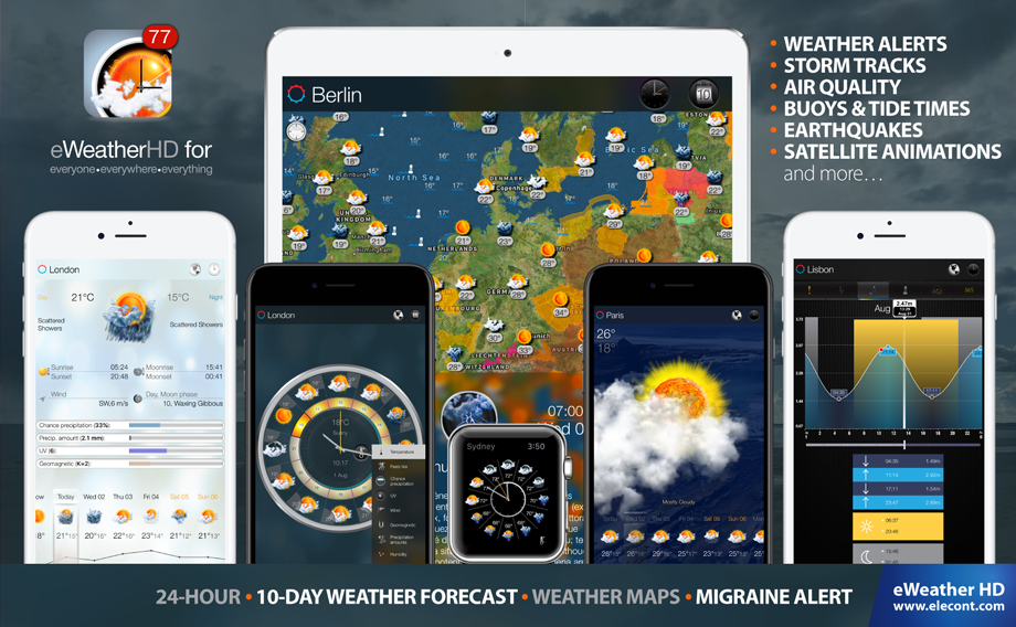 eWeather HD 3.7 for  Apple Watch- Severe weather alerts PUSH notifications, weather forecast, wind, rain, snow, temperature of air, humidity, dew-point, uv-index, geomagnetic activity and more