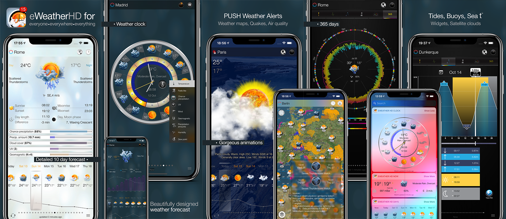 eWeather HD 3.9 for  Apple Watch- Severe weather alerts PUSH notifications, weather forecast, wind, rain, snow, temperature of air, humidity, dew-point, uv-index, geomagnetic activity and more