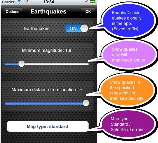 eWeather hd weather app iphone,ipad,ipod hi-def radar, satellite, weather alerts, earthquakes, beach water, sea surface - eqsettings
