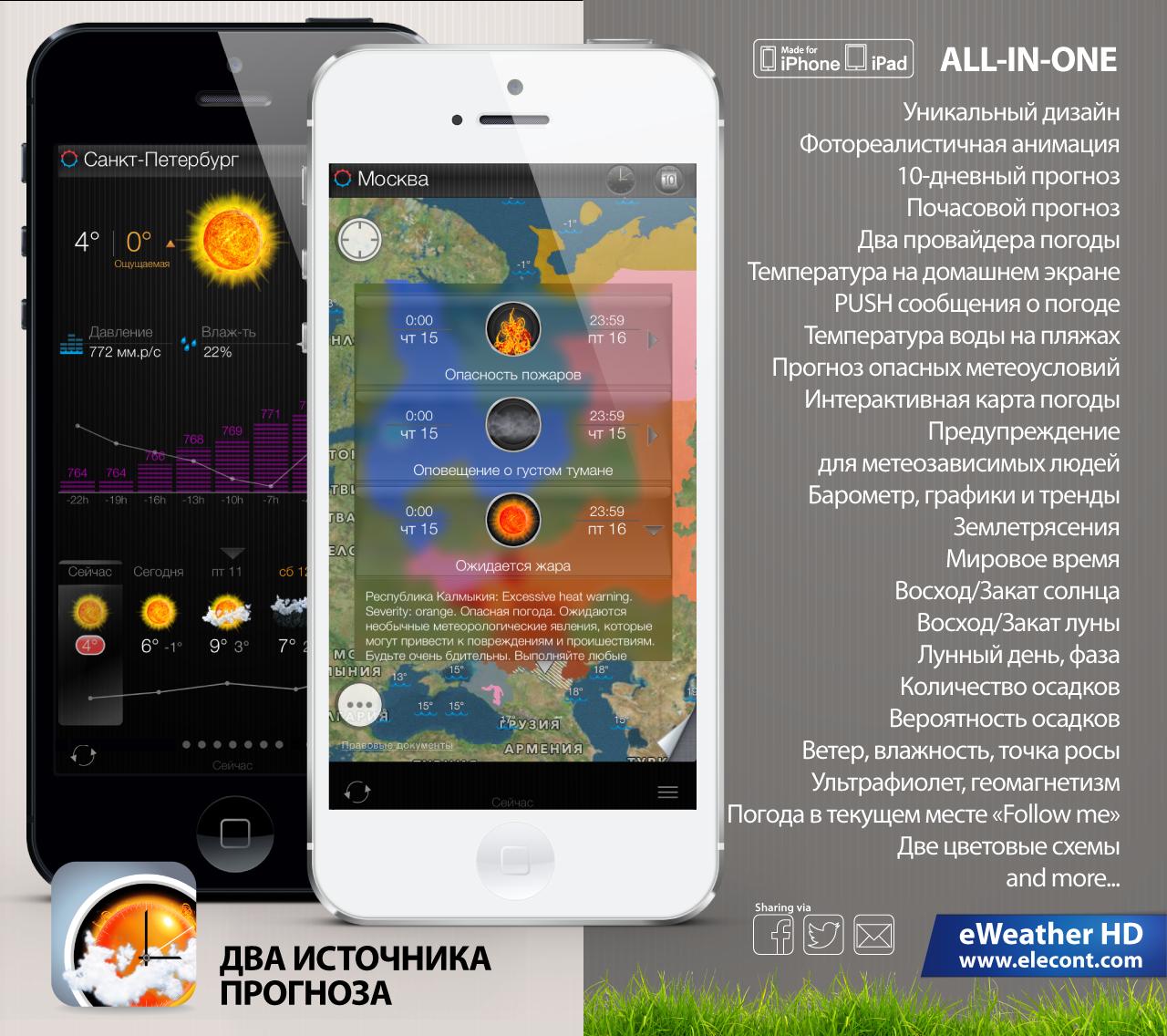 Прогноз погоды для iPhone, iPad Москва, Россия