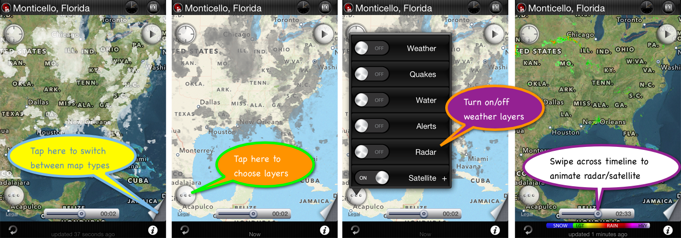eWeather hd weather app iphone,ipad,ipod hi-def radar, satellite, weather alerts, earthquakes, beach water, sea surface - Hi-def radar and satellite images inside iPhone and iPad weather appr