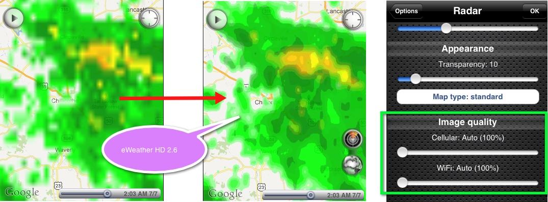 eWeather hd weather app iphone,ipad,ipod hi-def radar, satellite, weather alerts, earthquakes, beach water, sea surface - hi-def radar image quality