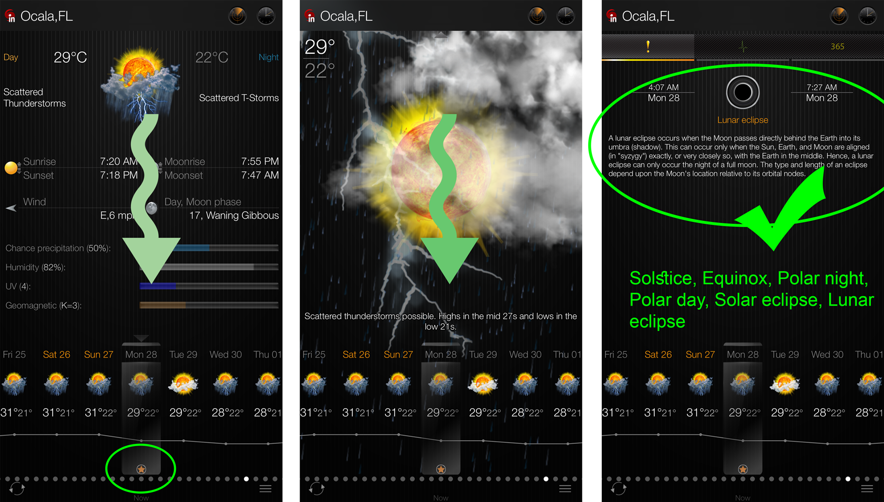 PUSH Notifications about important weather events for iPhone and iPad: Solstice, Equinox, Sun eclipse, Moon eclipse, Polar day, Polar night.