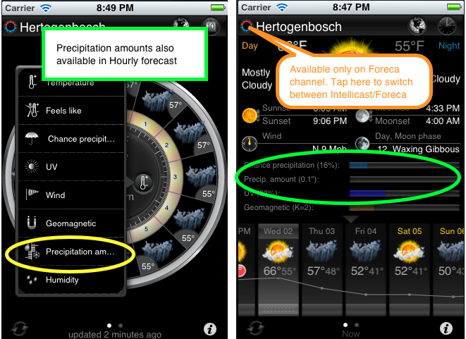 eWeather hd weather app iphone,ipad,ipod hi-def radar, satellite, weather alerts, earthquakes, beach water, sea surface - precpitation%20amounts