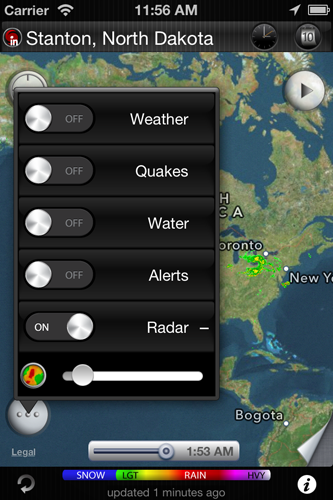 eWeather hd weather app iphone,ipad,ipod hi-def radar, satellite, weather alerts, earthquakes, beach water, sea surface - Transparency settings for weather radar layer