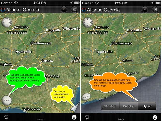 eWeather hd weather forecast iphone ipad ipod radar alerts. Switching between different weather map types.