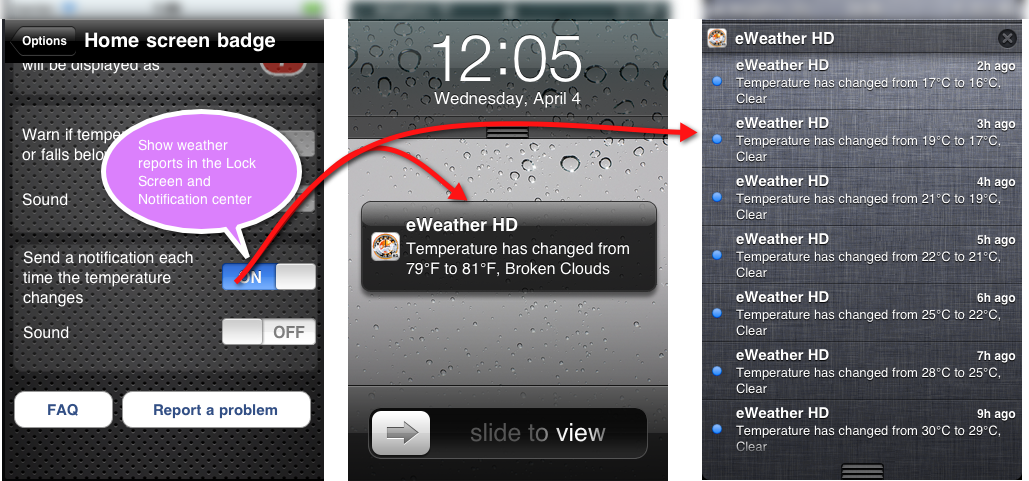 eWeather hd weather Show/Hide weather reports in Notification Center and lock screen iPhone/iPad