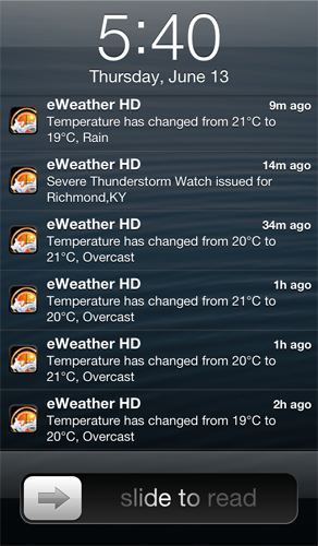 eWeather hd weather push weather alerts for iphone ipad ipod radar alerts earthquakes - Weather and weather alerts on iPhone and iPad lock screen