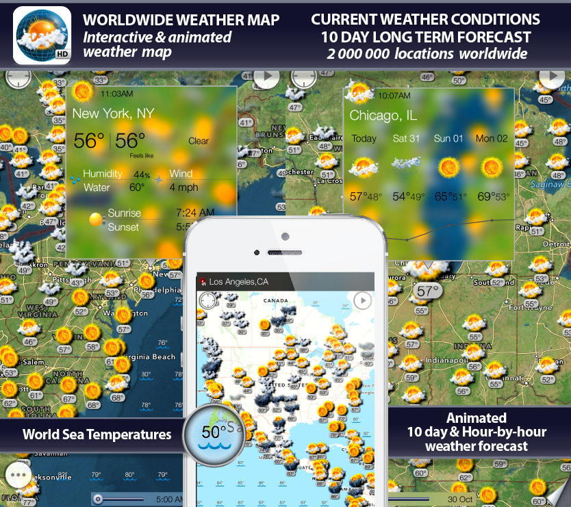 weather map hd, radar, weather forecast, alerts, earthquakes and weather widget for iPhone, iPod, iPad, iOS 4, iOS 5