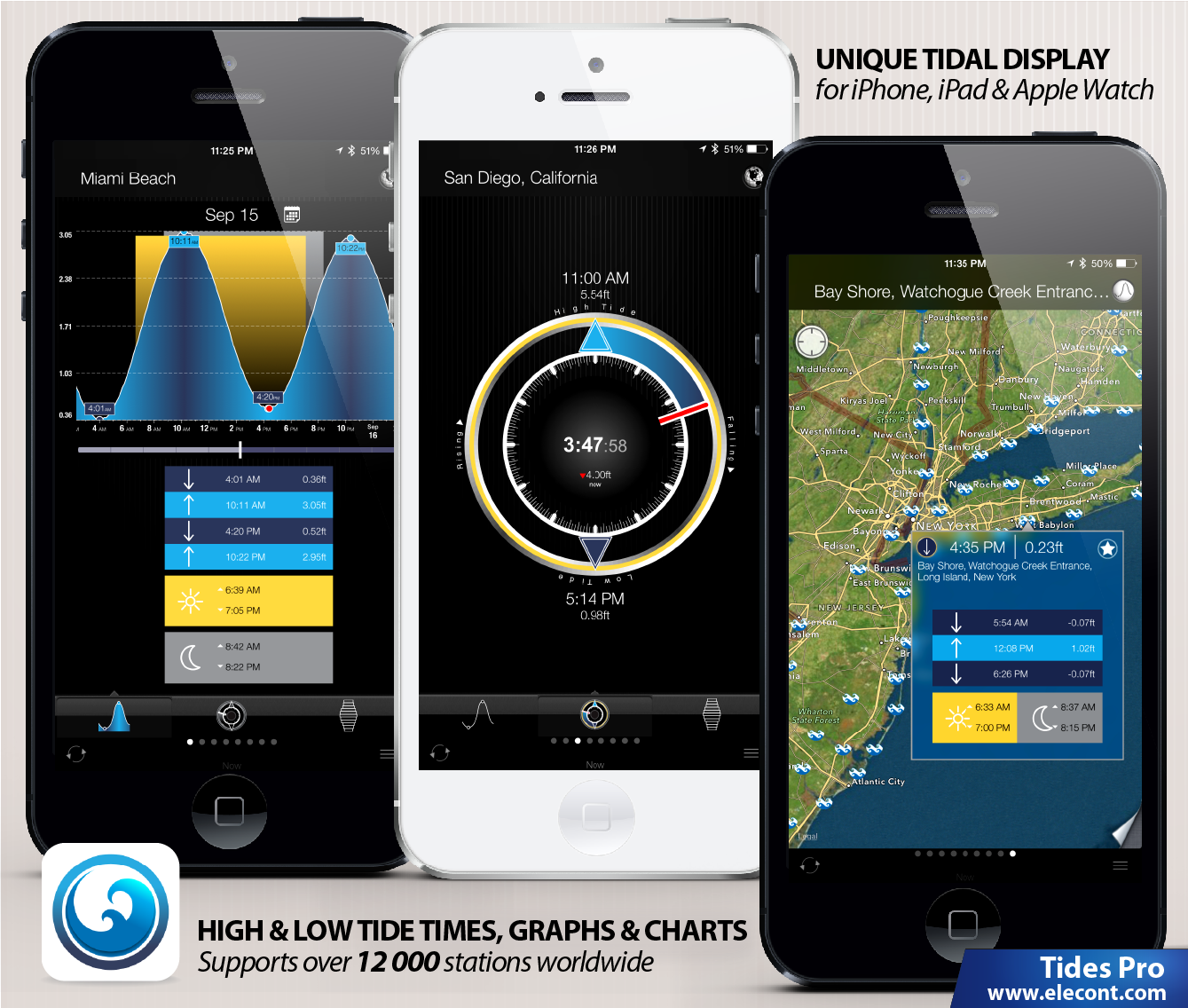 Tides PRO for iPhone, iPad and Apple Watch- Get high and low tide times, tide charts, tide tables for  over 12000 of ports, harbors and coastal locations around the World . The app reports high and Low tide times, tide predictions with up to the minute accuracy , Sunrise, Sunset, Moonrise, Moonset times, Solunar charts, Current water level and unique 'Tide watch' interface for Apple Watch.