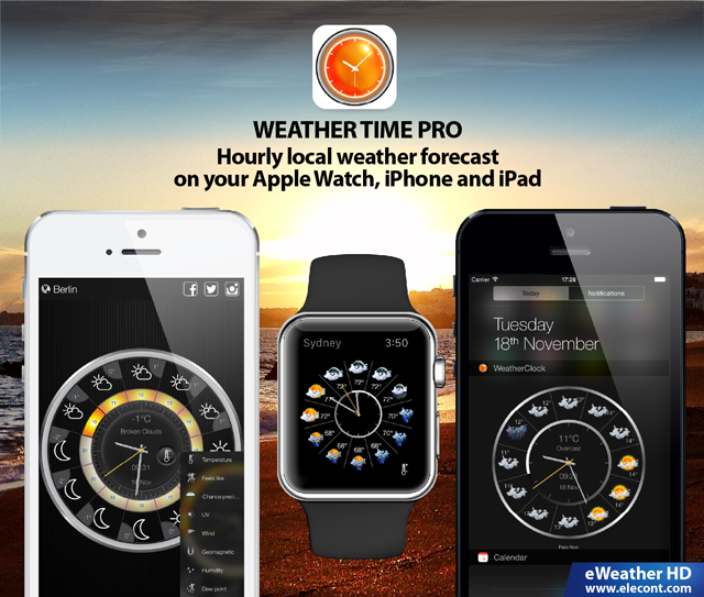 local weather, hourly weather forecast, wind, precipitations, uv index on Apple Watch