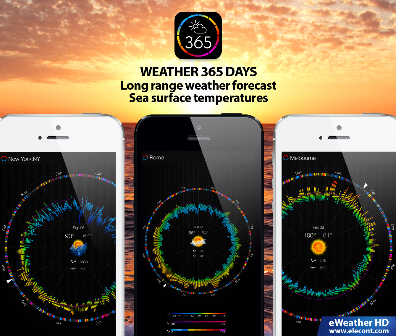 Weather 365 days - Vacation trip and wedding travel time planner. Weather 365 is a free planning tool for iPhone and iPad that provides long range weather forecasts based on a historical weather data. The app presents its information in an amazingly intuitive format, with a simple, user-friendly interface and single-touch access to weather trends, ranging from a single day to a year.