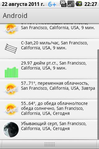 нотификация погоды для Android